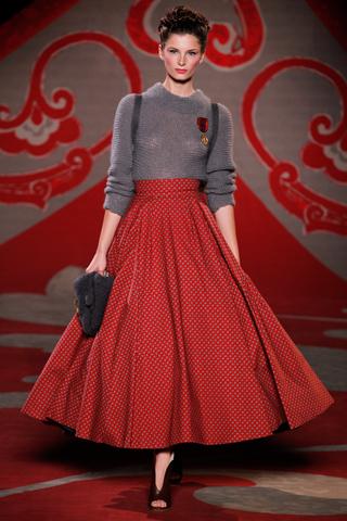 Ulyana Sergeenko, Fall 2012, Red print full skirt, grey mohair jumper, satchel