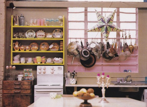 kitsch kitchen, gary hume, industrial living, pink