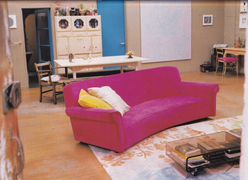 Pink sofa, Gary Hume, kitsch, industrial interior