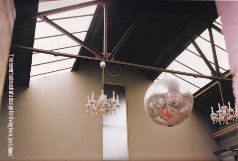 Glitter ball, industrial interior, warehouse, loft living, chandeliers
