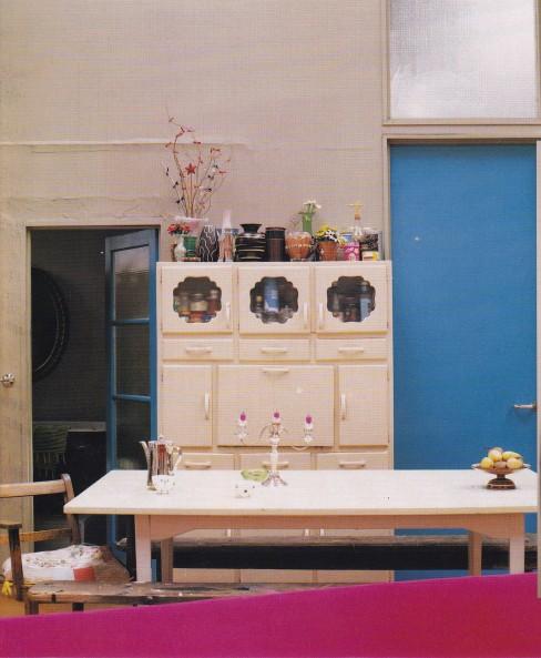 kitsch dining room, industrial interior, pink