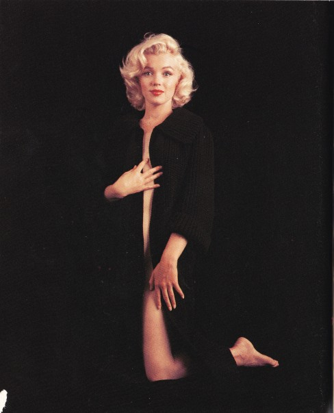 Marilyn Monroe, black cardigan coat, Milton Greene