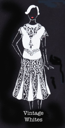 Vintage Whites, Carolyn Everitt, edwardian, 1920's fashion illustration