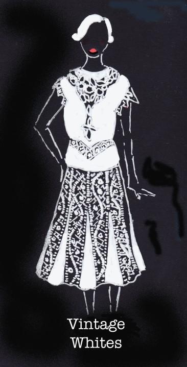 Vintage Whites, Carolyn Everitt, edwardian, 1920's fashion illustration