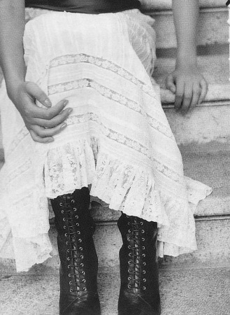 VIntage whites, lace edwardian skirt, lace up boots