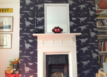 Bodie & Fou, Dinosaur Wallpaper, purple and silver