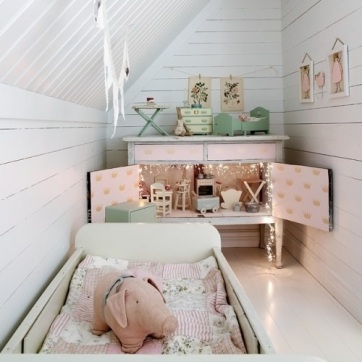 Girls Bedroom, Nursery, Fairy lights, dolls house, vintage wallpaper