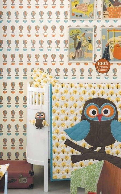 Ferris Wallpaper  Ferm Living  Owl Quilt  dotty bedding yellow  nursery. Quirky   Kid Friendly   I Get a Kick out of you