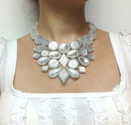 icy rhinestone bib statement necklace, etsy