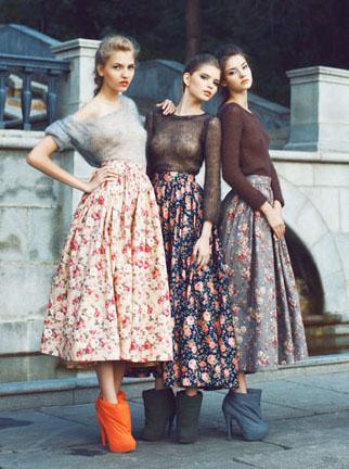 Ulyana Sergeenko, floral skirts