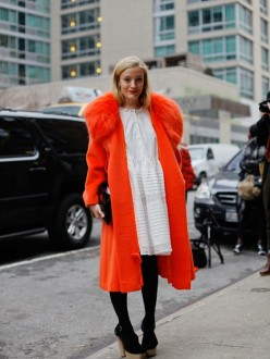 Kate Foley, White Dress, Red Fur Coat, Opening Ceremony