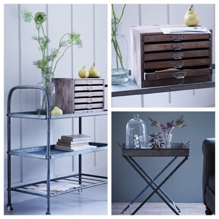 Salvage Style, Cox & Cox, trolley, zinc tray, wooden drawers