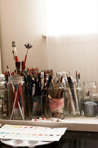 Work space, paintbrushes