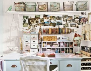 work space, distressed shabby chic