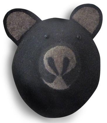 Black bear, animal heads, felt heads, bloomsbury store
