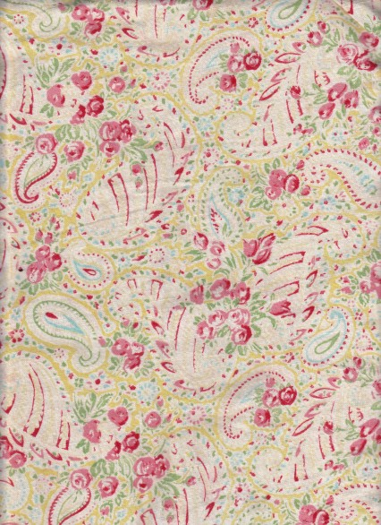 vintage edwardian rose print fabric