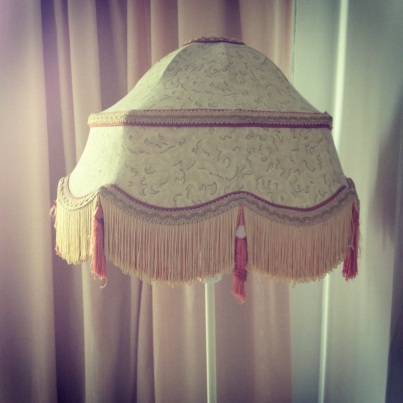 1920s lampshade, dusty pink