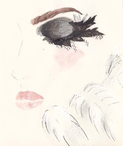 Chanel Pre Fall 2013, Lace Eyelashes, Fashion Illustration