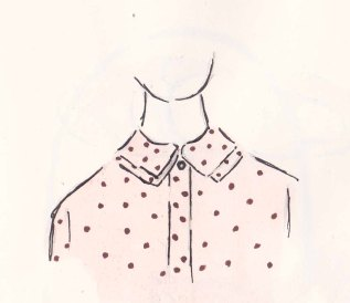 Toast Spring Collection, Blush Pink spotted shirt, fashion Illustration