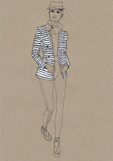 fashion illustration, Daphne van den heuvel, stripes