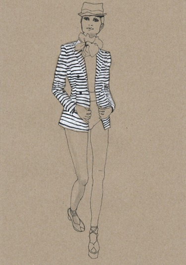 fashion illustration, Daphne van den heuvel, stripes