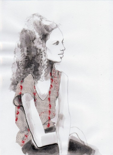 Fashion Illustration, Daphne van den heuvel, texture