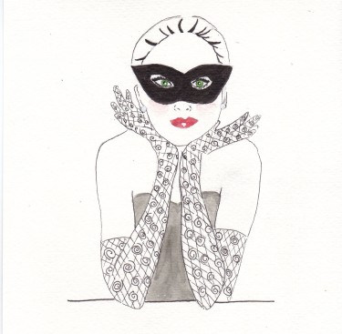 Valentine's Day Mask, fashion Illustration, Carolyn Everitt