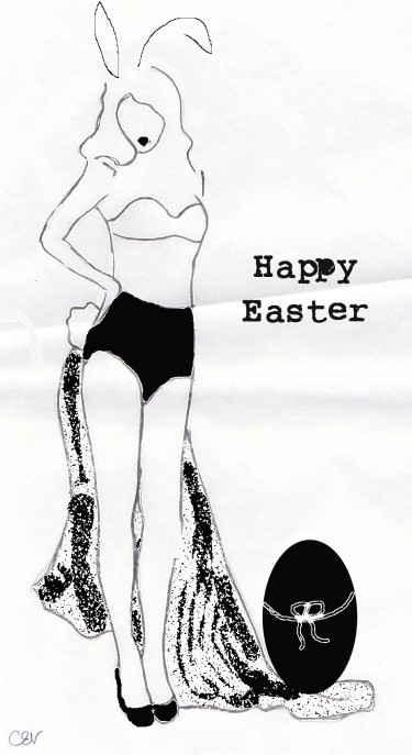 Pin Up, Easter Bunny girl, illustration, Carolyn Everitt