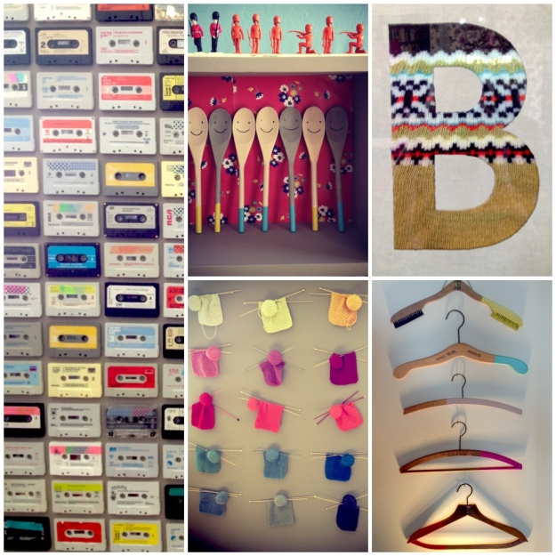 Boden Autumn Winter 2013, Cassette Wall, Hanging Animal Heads, Stencils, Styling