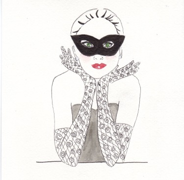 Masked Burlesque, Carolyn Everitt, Card Illustration