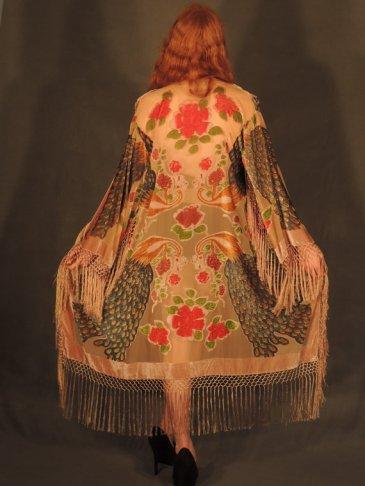 Devore fringed kimono, Etsy