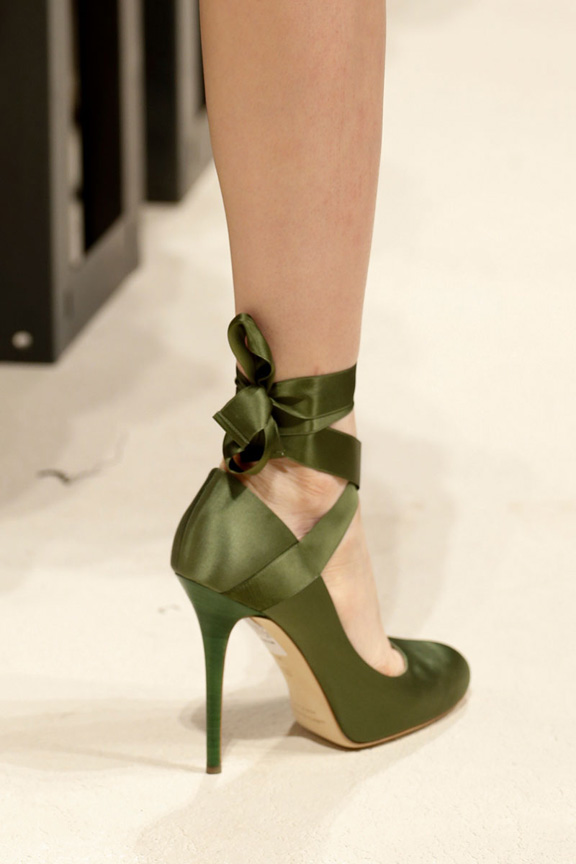 Heeled ballet shoes with ribbons, Alberta Ferretti, SS2014