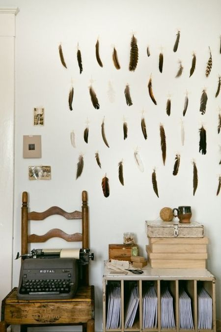 feathered walls, rustic interiors