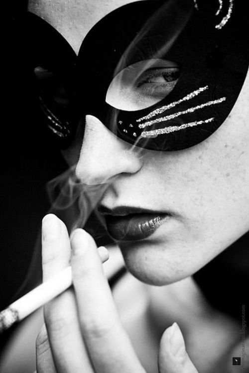 Cat mask, smoking girl